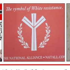 """White supremacy propaganda distributed by the following groups (from left to right): 14First, National Alliance and Hundred Handers."""